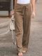 Elastic Waist Bowknot Straight Vintage Plus Size Pants - Khaki
