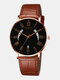 10 Colors Men Business Watch Adjustable Leather Band Hollow Calendar Quartz Watch - Black Dial Brown Pointer Rose Go