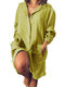 Long Sleeve Loose Casual Solid Color Dress For Women - Yellow
