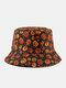 Halloween Unisex Cotton Overlay Cartoon Pumpkin Ghost Pattern Print Funny Sunshade Bucket Hat - Orange
