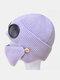 Men & Women Plus Velvet Thick Warm Neck Face Ear Protection Headgear Knitted Hat Mask Pilot Glasses - Purple