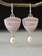 Vintage Stone Alloy Pink Opal Triangle Pendant Pearl Earrings - Pink