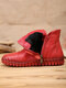 SOCOFY Solid Color Folds Soft Cowhide Leather Comfy Soft Sole Flat Short Boots - Red(Plush)