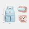 Women Casual Two-sided Design Waterproof Multi-pocket Large Capacity Backpack - Blue 1