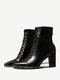 Plus Size Women Pointed Toe Lace Up Back Zipper Chunky Heel Short Boots - Black