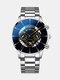 Business Men Watch Steel Band Waterproof Calendar Quartz Watch - Yellow Needle Silver Band