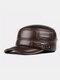 Men Cowhide Genuine Leather Military Cap Earflap Flat Cap - #03