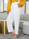 Solid Color Pocket High Waist Plain Casual Pants For Women - White