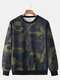 Mens Cotton Camouflage Printed Casual Pullover Long Sleeve Sports Hoodie - Green