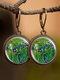 Vintage Glass Gemstone Dangle Earrings plant Flower Pattern Women Pendant Earrings Jewelry - #03