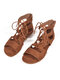 Women Large Size Solid Color Lace Up Flat Gladiator sandals - Brown