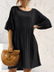 Solid Color 3/4 Length Sleeve O-neck Pocket Pleated Loose Casual Dress - Black