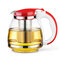 Large Capacity Glass Teapot High Temperature Resistant Flower Tea Coffee Kettle with Infuser  - Red