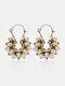 Vintage Hollow Flower Women Pendant Earrings Jewelry Gift - Silver