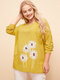 Casual Flowers Print Crew Neck Long Sleeve Plus Size Blouse - Yellow