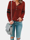 Patchwork Button Long Sleeve Casual T-Shirt For Women - Wine Red