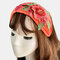 Women Embroidered Printed Headband Vintage Floral Ethnic - Orange