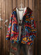 Casual Printed Hooded Jackets with Pockets - Red