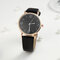 Fashion Cute Women Watches Leather Band Rose Gold Case Large Three-Hand Dial Quartz Watch - Black