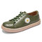 Women Daisy Embroidered Comfy Soft Wearable Casaul Lace-up Front Flat Shoes - Green