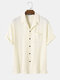 Mens Striped Texture Button Up Casual Short Sleeve Shirts With Pocket - Apricot