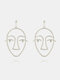 Fashion Exaggerated Abstract Human Face Earrings Gold Silver Dangle Earings for Women - Silver