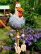庭の芸術の装飾チキンガーデン芝生プラグ編鶏の装飾品彫像エッジシーター屋内屋外裏庭の装飾 - グレー