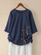 Floral Printed Short Sleeve Button T-shirt For Women - Navy
