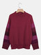 Loose Striped Long Sleeve Elastic Neck Casual Plus Size Sweater - Red