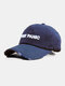 Unisex Washed Cotton Solid Color Ripped 3D Letter Embroidery Fashion Sunscreen Baseball Caps - Navy