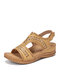 SIKETU Plus Size Women Retro Stitching Hollow Out Hook Loop Hand Made Wedges Sandals - Apricot