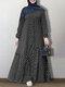 ドットプリント長袖OネックPlusサイズカジュアルマキシドレス女性用 - ブラック
