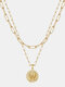 Luxury Layering Paperclip Chain Women Necklace 26 Initials Coin Pendant 14K Gold Plated Necklace Clavicle Chain - W