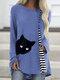 Cartoon Cat Striped Patchwork O-neck Long Sleeve T-shirt - Light Blue