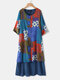 Fake Two Pieces Printed Patchwork Button 3/4 Sleeve Midi Dress - Blue