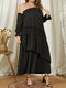 Plain Layered Off Shoulder Ruffle Sleeve Party Sexy Dress - Black