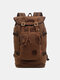 Men Genuine Leather And Canvas Retro Travel Outdoor Large Capacity Backpack - Coffee
