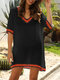 Embroidery Crochet Hollow Out V-neck Plus Size Beaches Holiday Blouse - Black