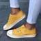 Large Size Women Canvas Elastic Band Casual Flat Shoes - Yellow
