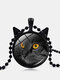 Vintage Stereoscopic Black Cat Face Printed Women Necklace Cat Ear Pendant Necklace - Black
