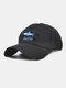 ユニセックス コットン ソリッド カラー サメの手紙刺繍サンシェード ファッション ベースボール キャップ - ブラック