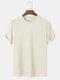 Mens Plain Texture Knitted Waffle Short Sleeve T-Shirt - Beige