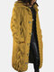 Women Solid Color Knitted Button Hooded Casual Cardigan With Pocket - Yellow