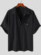 Plus Size Mens Solid Concealed Placket Lapel Casual Short Sleeve Shirts - Black