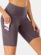 Women High Elastic Quick-Drying Yoga Sports High Waist Shorts With Side Pocket - Purple