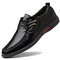 Men Hand Stitching Non Slip Metal Buckle Casual Leather Shoes  - Black