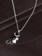 Vintage Animal Women Necklace Black-White Cat Inlaid Diamond Pendant Necklace Jewelry Gift - Silver