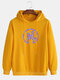Mens Reflective Gesture Print Street Style Drawstring Casual Hoodie - Yellow