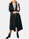 Solid Color Pocket Button Loose Casual Coat For Women - Black