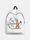 Women Cute Rabbit Colorful Eggs Happy Easter Polyester Bag Large Capacity Backpack - 4